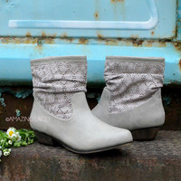Amazing Gray Cowgirl Lace Ankle Boots