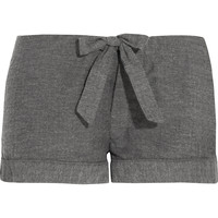 Bodas - Montana herringbone brushed-cotton pajama shorts