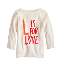 Girls' L is for love popover - cotton - Girl's sweaters - J.Crew