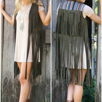 Suede From Side To Side Olive Cropped Vest With Layered Fringe & Tribal Detail