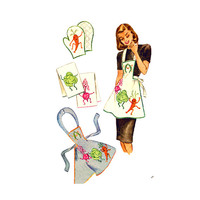 1940s Anamorphic Bib Apron Pot Holder Pattern McCall 1251Wide Neck Strap Buttons at Back Embroidery Transfer Included