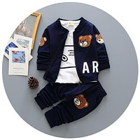 New Spring/autumn Baby Boy Clothing Set Boy Sports Suit Set baby Lovely Pattern Outfits Clothes Casual Tshirt+coat+pants