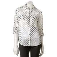 SO® Roll-Cuff Button-Front Top - Juniors