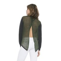 Womens Long Sleeve Olive Combo Eliza Pullover Sweater By One Grey Day