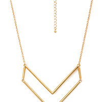 FOREVER 21 Angular Geo Pendant Necklace Gold One