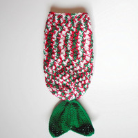 Christmas Mermaid Tail Blanket in Red, White, Green and Silver, Infants 3-6 Months, ready to ship.