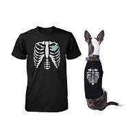 Skeleton Matching Pet and Owner T-shirts for Halloween Dog and Human Apparel