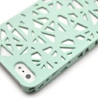 For Apple iPhone 5 5S- Wydan Birds Nest Woven Design Case Cover - Mint Green
