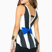 Wide Stripe Peplum with Colored Bow