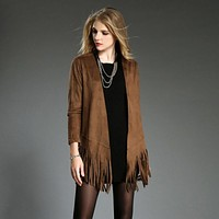 New Women Suede Tassel Boho Coat Winter Fringe Long Sleeve Cardigan Outwear Slim Short Jacket Crop Tops Chaquetas Mujer 4 Clors