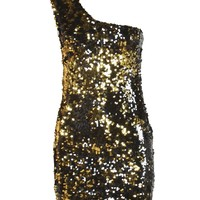 Black and Gold One Shoulder Sequin Dress