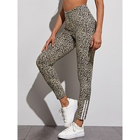 Cheetah Print Side Stripe Leggings