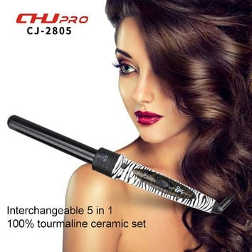 Ceramic Curling Wand 5 in 1 Curling Wand Interchangeable Hair Curler Professional Roller Hair Styling Tools With Glove #CJ-2805