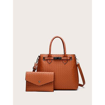 2pcs Braided Satchel Bag Set