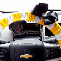 Yellow and White Chevron Steering Wheel Cover with Bow of your choice
