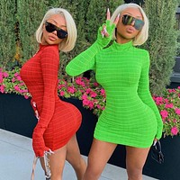 2020 autumn and winter new women's long sleeve round neck dress
