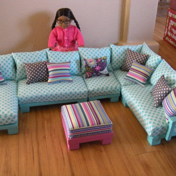 AVAILABLE for APRIL DELIVERY - Doll Couch Chairs Living Room Furniture Sectional for American Girl Dolls or 18-inch Dolls (Josephine Set)