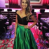 Two Piece Green Off Shoulder Prom Dresses