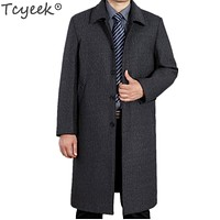 Tcyeek 2017 Winter Overcoat Men Long Wool Coat Business Casual Turn-down Collar Clothing casaco masculino Black Grey Coats HH132