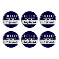 Joshua Hello My Name Is Plastic Resin Button Set of 6