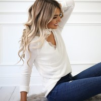 White Choker Sweater