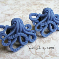 Octopus Plugs for Gauged Ears Sizes 00g, 0G, 2G, 4G , 6G, 4mm, 5mm, 6mm, 8mm, 10mm, Also Available for Pierced Ears