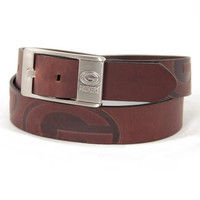 Green Bay Packers NFL Men's Embossed Leather Belt (Size 38)