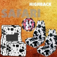 9pc Safari White Cow Print Car Floor Mats, High Back Seat Covers, Steering Wheel Cover & Shoulder Pad Set