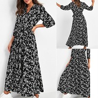 2020 new women's casual floral print V-neck long sleeve lace-up dress