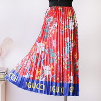 GUCCI New fashion letter more floral print skirt women Red