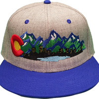 Colorado Flag Mountains Denver Skyline City Lights Cherry Creek Lake Design  Snap Back One Size Fits All Flat Bill C Raised Embroidery