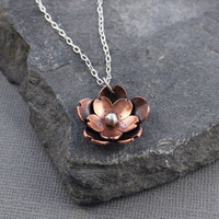 Double Cherry Blossom Pendant, Sakura pendant, Spring jewelry, Gifts for her, Gifts under 45