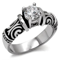 Solitaire Round Brilliant CZ Celtic Stainless Steel Engagement Ring