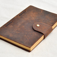 Handmade Unique Leather Journal Diary Close with Airplane Blank Craft Paper wedding gift (Free stamp)