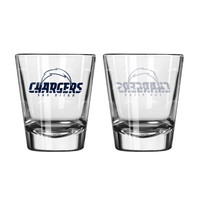San Diego Chargers Shot Glass - 2 Pack Satin Etch