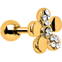 Crystalline Gem Gold Bright Flower Cartilage Earring | Body Candy Body Jewelry