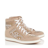 Nude Suede High Top Trainers with Metal Studs | Tokyo | Pre Fall 15 | JIMMY CHOO Shoes