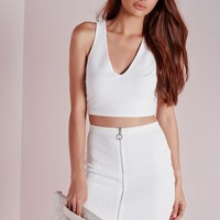 Missguided - Triangle Ring Bandage Crop Top White