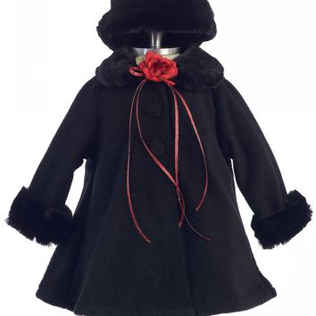 Black Fleece & Fur Trimmed Girls Dress Coat w. Hat 3m-24m