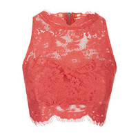Lace High Neck Crop Top - Coral