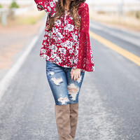 No Lace Like Home Floral Bell Sleeve Babydoll Top (Burgundy)
