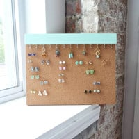 Cork Earring Holder - Earring Stud Holder - Stud Earring Holder - Stud Earring Organizer - Wall Jewelry Organizer - Mint - Jewelry Organizer