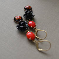 Red and Black Floral Earrings, Vintage Glass and Lucite, Antique Brass Lever Back Earrings, Retro