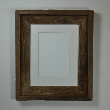8x10 barn wood wood picture frame brown and gray with white 5x7 mat