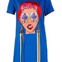 Bethany Face Motif T-Shirt Dress | Boohoo