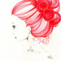 Grace  Original  Watercolor Painting and Drawing