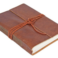 Large Brown Leather Journal, Wrap Journal, Travel Journal, Lined Paper, Guestbook, BoundByHand, Wedding Guestbook, Ready To Ship