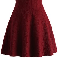 Wine Embossed Knitted Skater Skirt