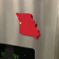 """Kansas City  Chiefs """"State Heart"""" magnet, handcrafted wood with official team colors"""