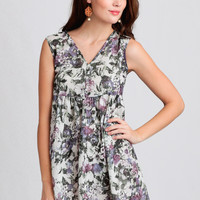Second Nature Floral Babydoll Dress In Purple